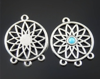 Set of 2 ranks dream catcher 33 * 27 mm silver color