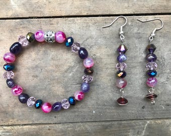 Dark Pink Agates and Amethyst Gemstones Set