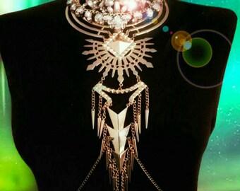Gold Body Chain Harness Crystal Burning Man Statement Body Jewelry Jewellery Festival Carnival Acrylic Fashion Spikes Tassel Choker Necklace