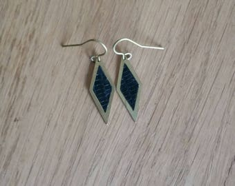 """diamond"" painted raw brass and green leather earrings"