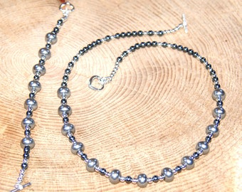 Silver and Grey Pearl Set, Pearl Necklace, Pearl Bracelet, Gift for Her, Mothers Day Gift, Bridesmaid Jewellery, Wedding Jewellery