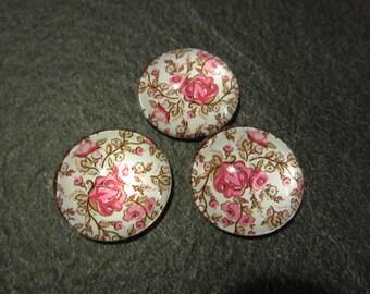 set three cabochons flowers theme pink 1.8 cm
