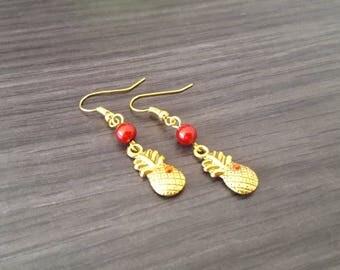 Pineapple red rhinestone Earrings