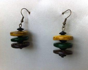 Colorful coconut earrings
