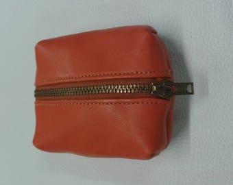 Orange lambskin leather wallet.