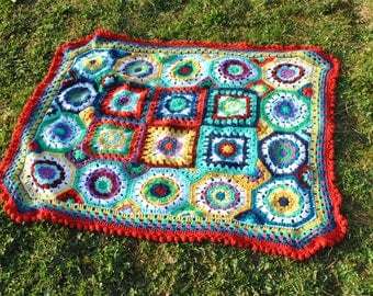 Multicolored Plaid handmade colorful blanket