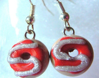 Earrings donuts polymer clay glaze red and gray glitter