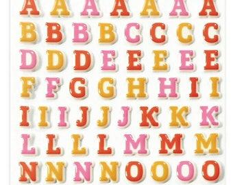 "Stickers Cooky relief ""Alphabet red / Orange"" x 93 - MAILDOR - Ref CY009"