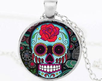 Mexican sugar skull Rose Pendant day of the dead necklace in Silver Color