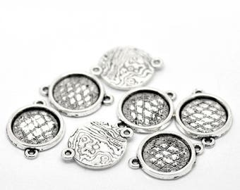 14 mm set of 10 connectors for cabochons Silver Stick