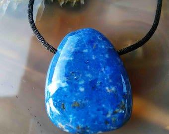 Lapis Lazuli mounted black cord pendant