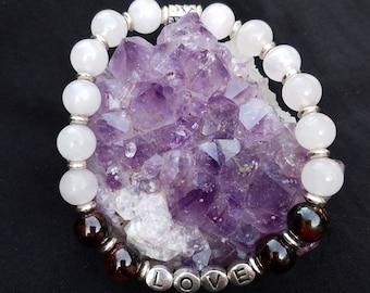 Rose Quartz and Garnet Love Bracelet