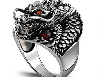 Stunning ring 925 sterling silver dragon cubic zirconia