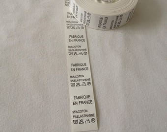 Label composition making care clothing creations sewing by machine sewing tape