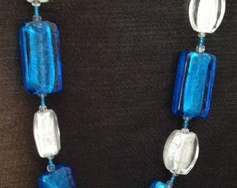 Blue and white pearls necklace Venetian glass