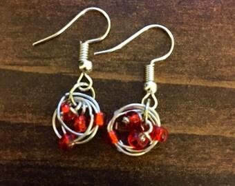 Red Birds Nest Chandelier cluster silver Fishhook earrings
