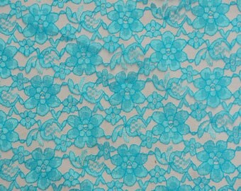 "60"" Wide - AQUA Lace Fabric - Floral Raschelle Lace - By The Yard"