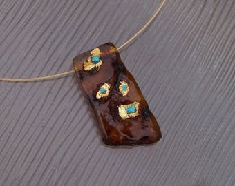 Necklace Natural Amber, gold leaf and turquoise