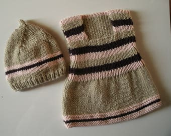 3/6 months pinafore dress + hat, color ficelle/rose/mure,85%laine