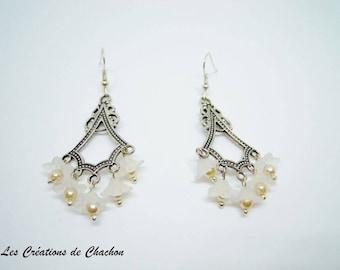 Tulips flowers beads earrings