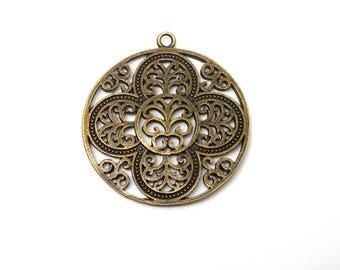 Large charm or pendant flower effect filigree bronze