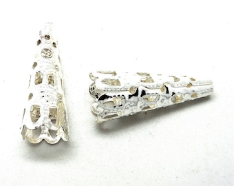 Set of 10 silver plated filigree cones