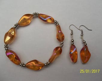 Fancy pearl orange elastic bracelet