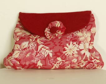 Pouch Case Red and floral fabric makeup bag