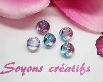 Lot 5 beads pumpkin Czech blue Fuchsia 8 mm SC0090915 - design - jewelry