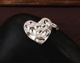 10 charms 14x11mm - SC0094969 hammered silver heart-