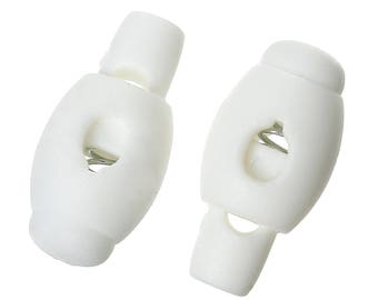 Set of 10 cord stops plastic with spring white 22 mm