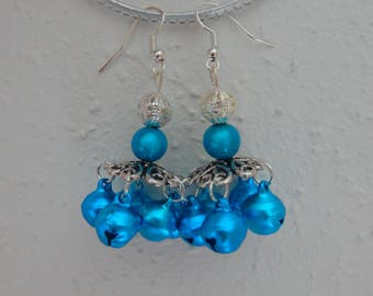 "Earrings ""merry-go-round bells"" silvery-blue"