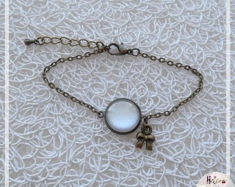 Bracelet cabochon glass Pearl and bow