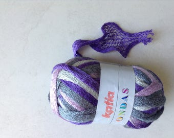 Wool ruffle nuanced purple pink gray