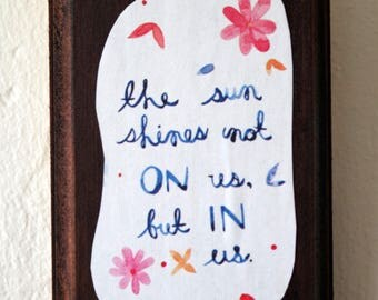 Petite Wall Plaque with Watercolor John Muir Quote