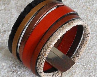 Leather, orange and bronze Cuff Bracelet
