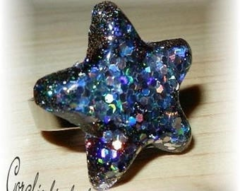 Adjustable ring Star Spangled resin Crystal Black and silver tones