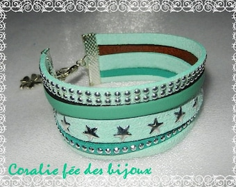 strap leather, Star and studded suede tone Cuff Bracelet