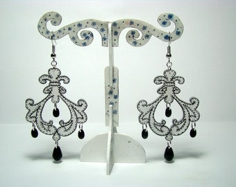 Baroque earrings with shrink plastic and Czech glass beads