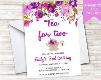 Tea for Two Invitation Invite 2nd Birthday Digital Kids Girls Purple 5x7 Floral Watercolor