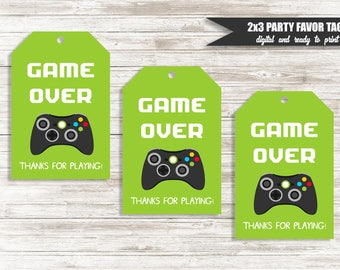 Game Over Favor Tags Digital 2x3 Party Thank You Gamer Gaming Birthday Green Black