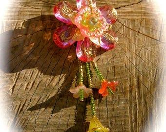 Pink Sakura flower pendant and chandelier bells