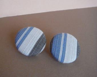hairline stripe Button series earrings