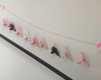 Chickadees origami Garland