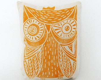 Yellow OWL decorative pillow