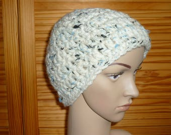 Set hat and scarf mixed handmade crochet and knitting