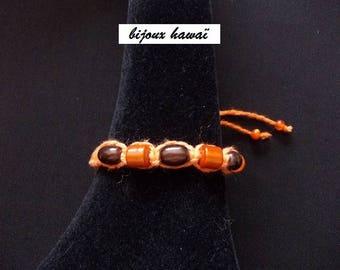 Cotton Brown & orange Shambala bracelet