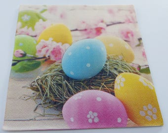 20 paper napkin eggs Easter decorated small nest of straw 38 X 38 cm
