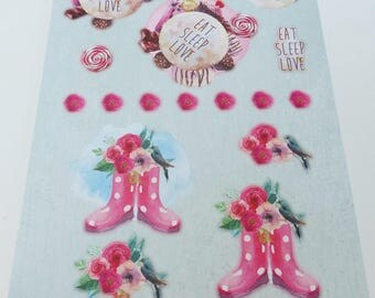 A4 sheet with image precut to assemble for cardmaking 3D effect flower bird cake eat sleep rain boot love