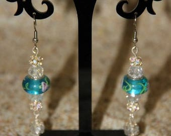 Swarovski crystal and turquoise glass earrings